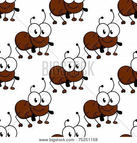 Cute little cartoon ant seamless pattern