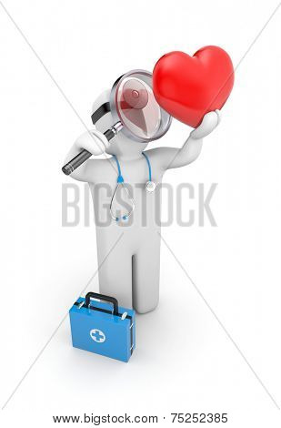 Medic with magnifying glass exploration heart