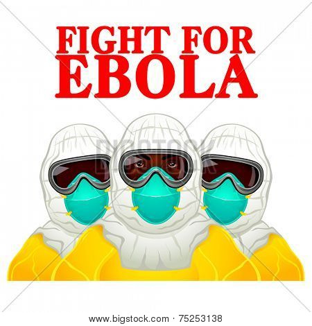 African health workers in Ebola-protective uniform