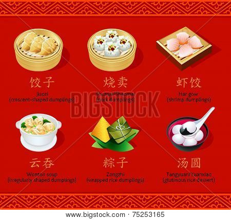 Chinese steamed, dessert and soup dumpling icons