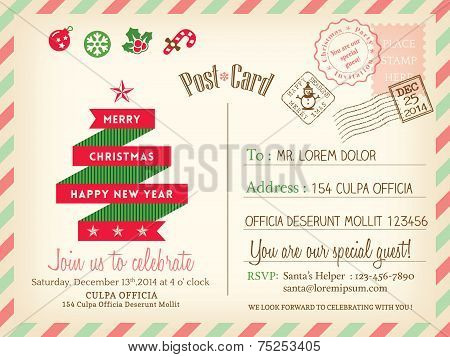 Vintage Merry Christmas Holiday Postcard Background Vector Template For Party Greeting Card