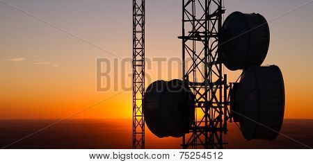 Cellular Radio Wave Communication Towers Evening Sunset Horizon