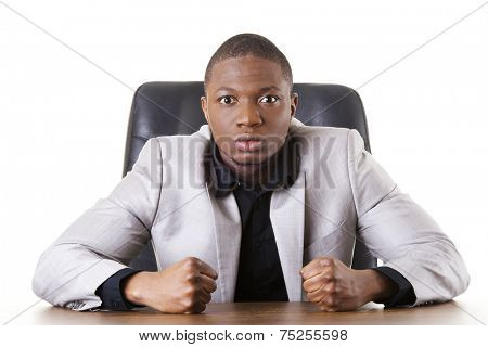 Angry african businessman shouting on someone
