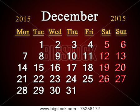 Calendar On December Of 2015 Year On Claret