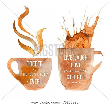 Watercolor coffee cups with type designs about coffee