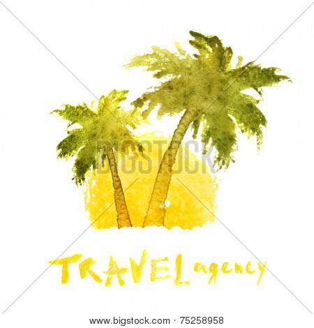 watercolor travel agency logo template