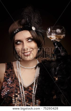 Retro 20s style woman drinking champagne
