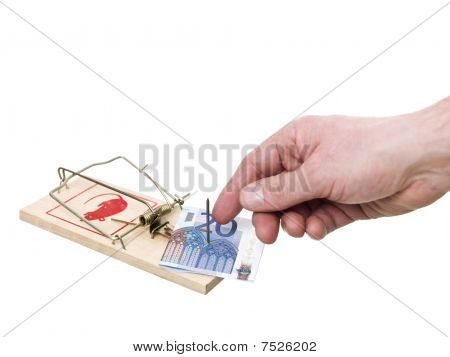 Mousetrap With A Euro Bank Note