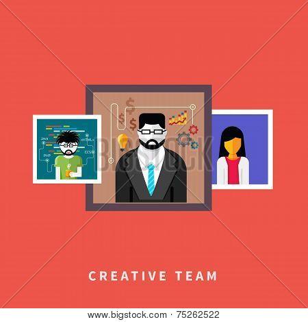 Portraits of creative team people