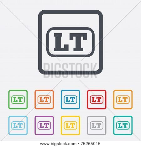Lithuanian language sign icon. LT translation
