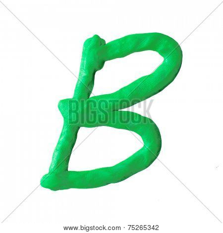 letter B from plasticine isolated on white background