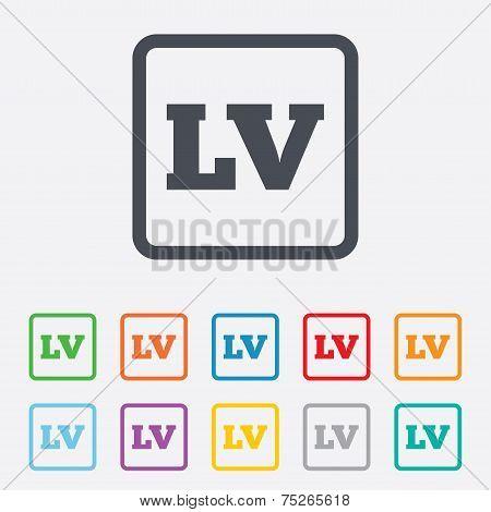 Latvian language sign icon. LV translation