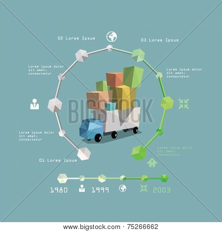 Delivery service infographic. Truck. Vector illustration