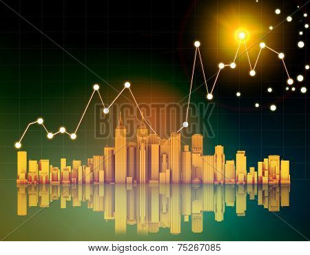 office skyscrapers and chart on abstract background.