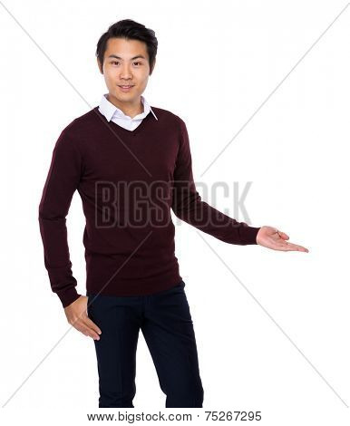 Asian man with hand show with blank sign