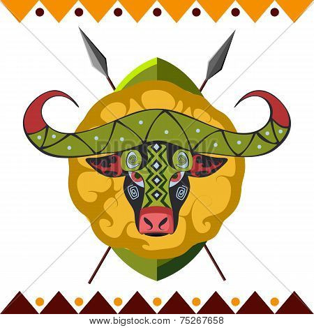 African Buffalo in color pattern vector illustration