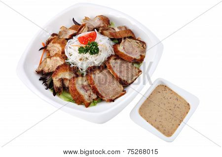 Slices Roasted Beijing Duck  In A Plate Isolated On White.