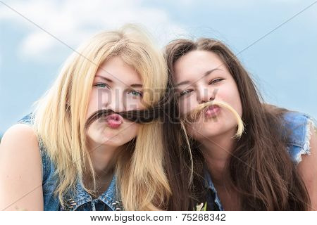 Friends Make Funny Mustache From Hair
