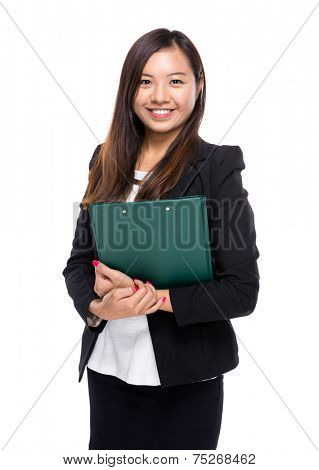 Singaporean businesswoman with clipboard