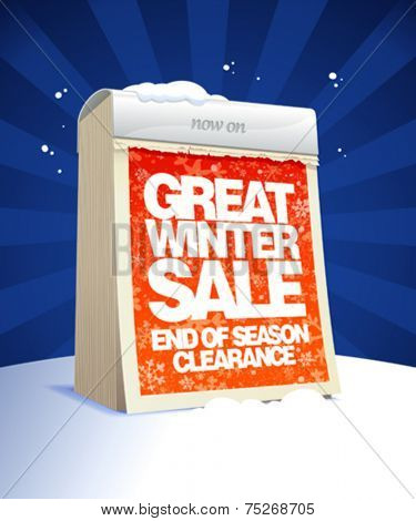 Great winter clearance design in form of tear-off calendar.  Eps10