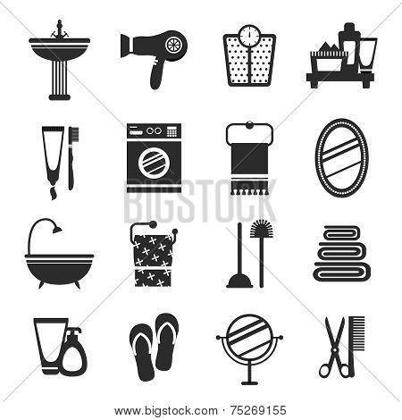 Bathroom icon set black and white