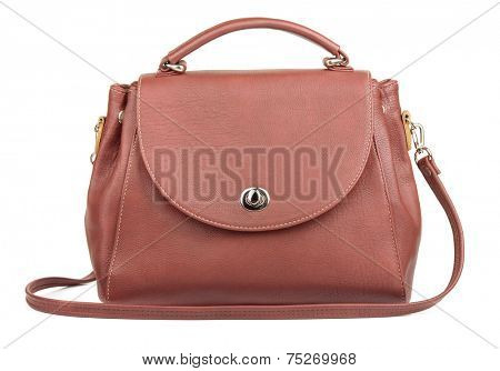 Womans brown handbag isolated on white