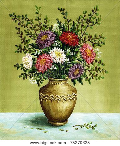 Asters in a amphora, paintings