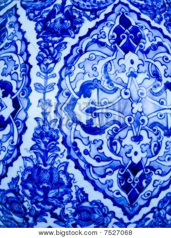 Blue And White Pattern On Ceramic