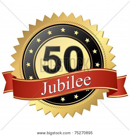 Jubilee Button With Banners - 50 Years