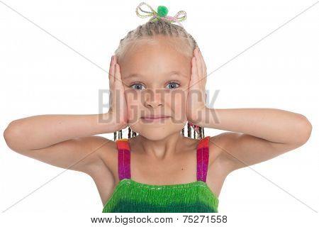 Little girl shows a pose I can not hear. Girl is six years old.