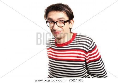 Young Guy With Glasses On White Background