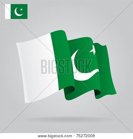 Flat and waving Pakistani Flag. Vector