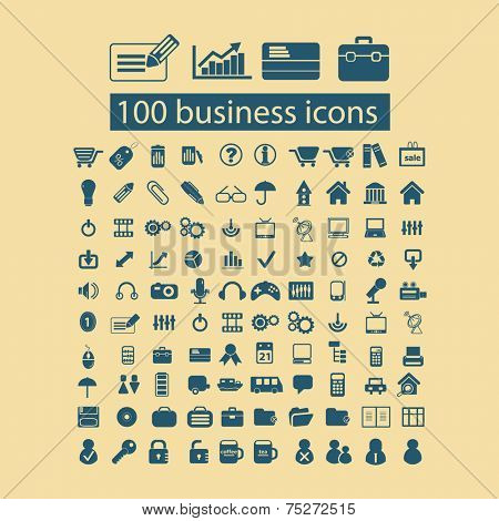 100 business, management icons, signs, illustrations set, vector