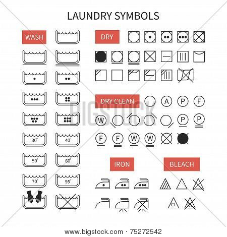 Set of  line simple washing instruction symbols .Laundry icons in flat style. Clothing care. Vector