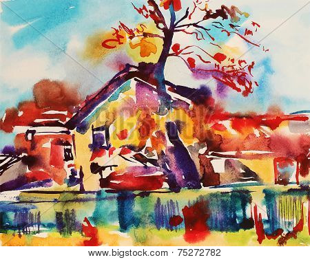 original watercolor abstract rural landscape