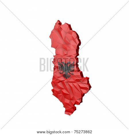 Low Poly Albania Map With National Colors