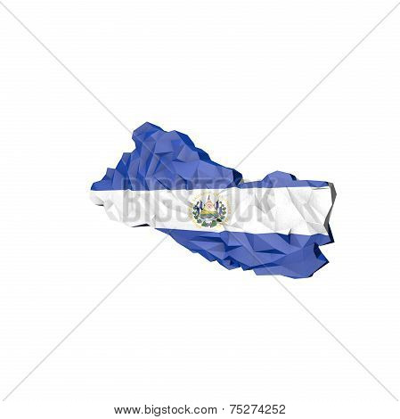 Low Poly El Salvador Map With National Flag