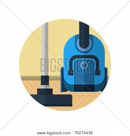 Flat vector icon for vacuum cleaner in room