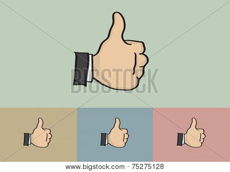 Thumb Up Hand Gesture Cartoon Vector