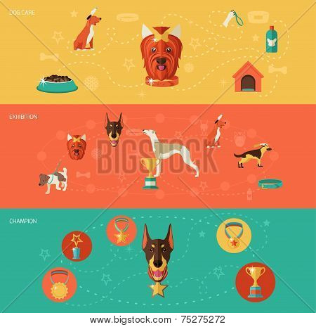 Dog icons banner set