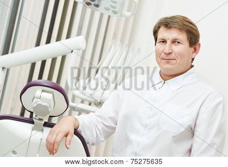 confident dentist orthodontist male doctor portrait at working place