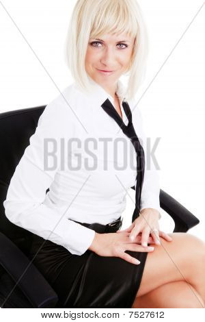 Beautiful Blond Businesswoman Isolated Over White