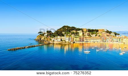 Sestri Levante, Silence Bay Sea And Beach View. Liguria, Italy