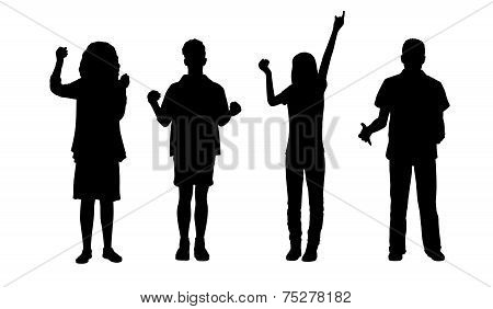 People Holding Standing Silhouettes Set 1