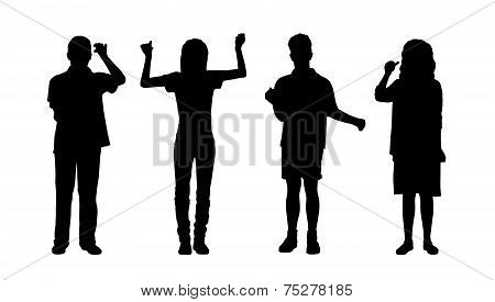 People Holding Standing Silhouettes Set 2