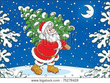 Santa with a Christmas tree