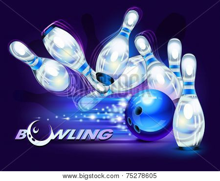 Bowling game, blue bowling ball crashing into the pins