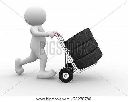 Tyre On Hand Truck.