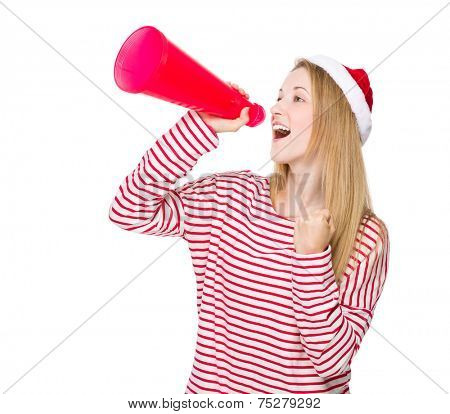 Woman shout with megaphone