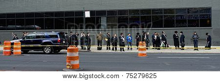 Hasidic Jews Waiting For Bus In New York City.